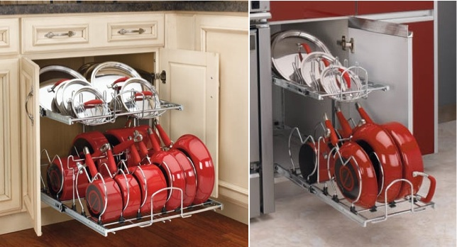 The organized kitchen: 2 Tier Pot & Pan Organizers from Rev-a-Shelf | inspiredhaven.com