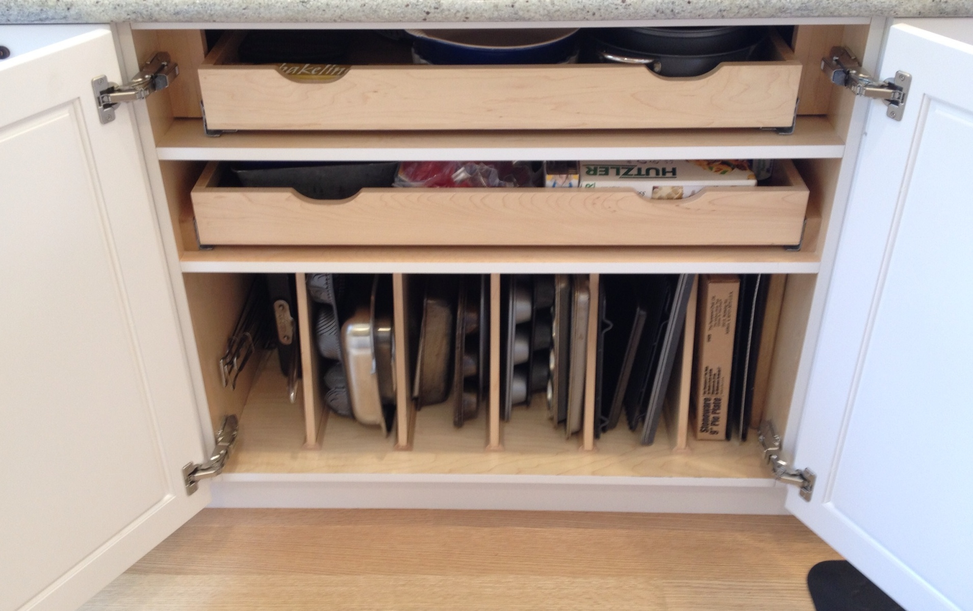 Kitchen Organization: Wood partitions built into cabinet   Inspired Haven