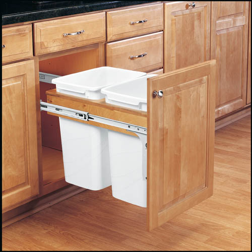 Kitchen Organizing: 2 bin trash pullout from Rev a Shelf | inspiredhaven.com