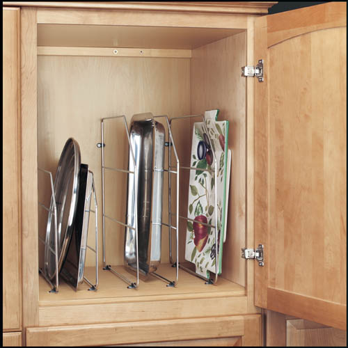 Rev-a-Shelf chrome tray dividers are a great way to organize the space above the oven or pantry cabinet | Inspired Haven