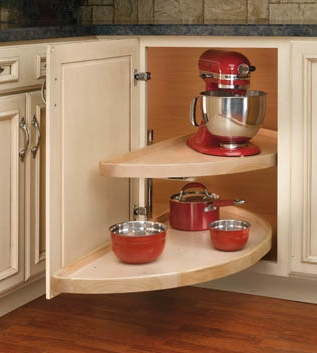 Small blind corner cabinet? Half moon lazy susan from Rev-a-Shelf | inspiredhaven.com