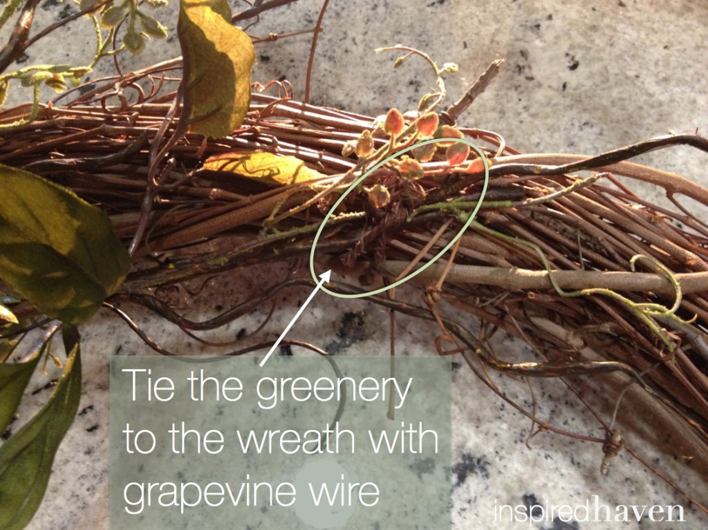 Fall wreath - tie the greenery