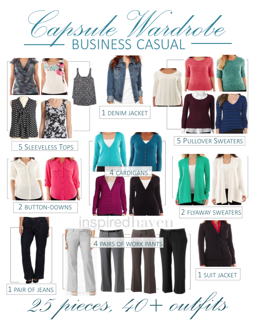 Business casual capsule wardrobe: 25 pieces, 40+ combinations | Inspired Haven
