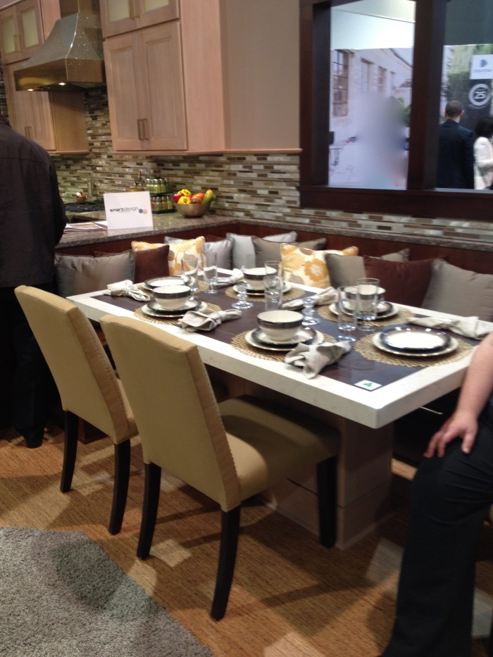 Nook banquette backing up to peninsula at KBIS 2015