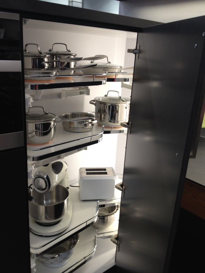 Le Mans blind corner pull-out for taller cabinets, Hafele, KBIS 2015
