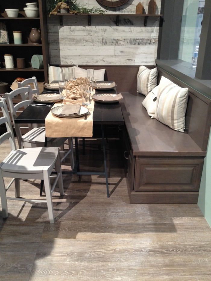 Kitchen nook banquette by Aristocraft cabinets at KBIS 2015