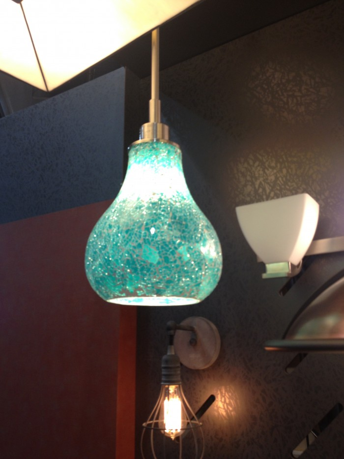 Sparkly aqua-colored pendant light by Kichler, at KBIS 2015