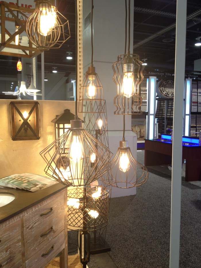 Edison bulb in wire fixture by Lamps Plus, at KBIS 2015