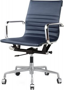 Navy and Chrome Office Chair
