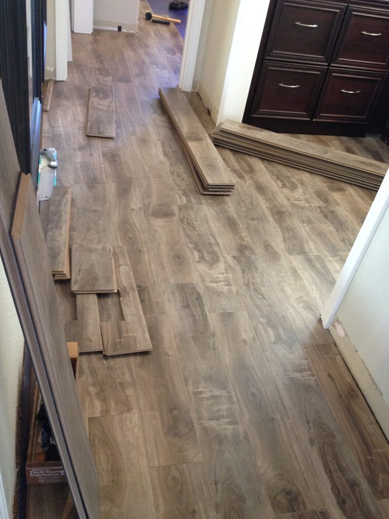 Installation of laminate flooring in hallway