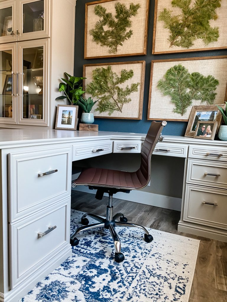 Home Office Built In Desk Soft Gray Cabinets and Navy Wall