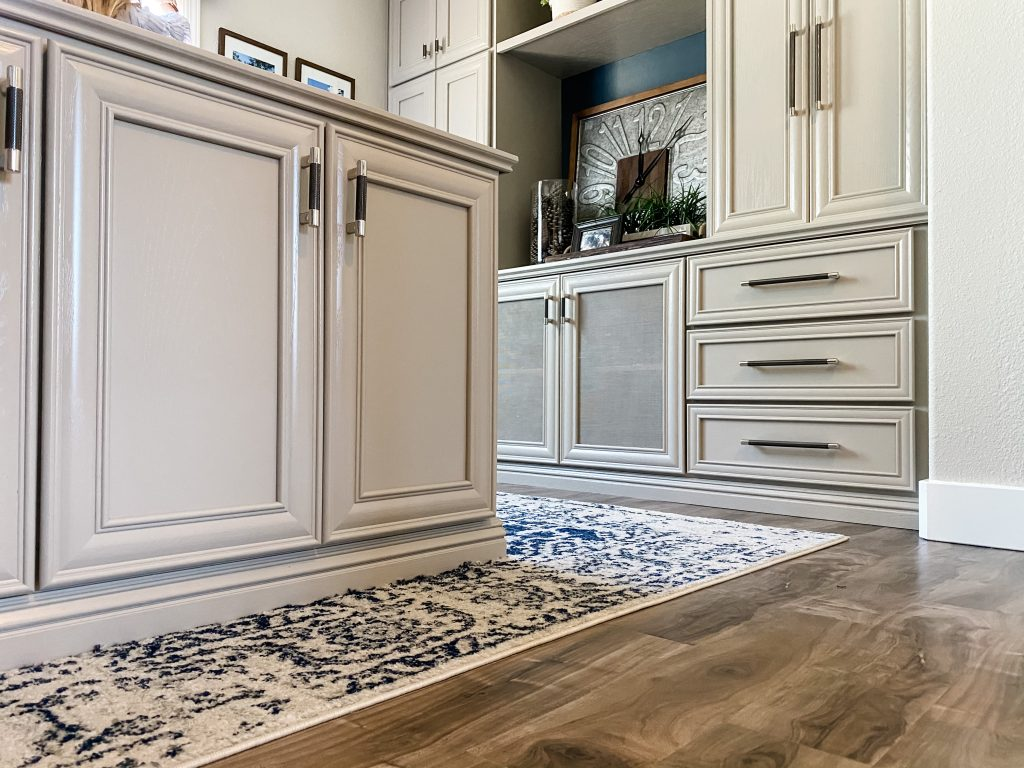 Rug cut to fit built in cabinets