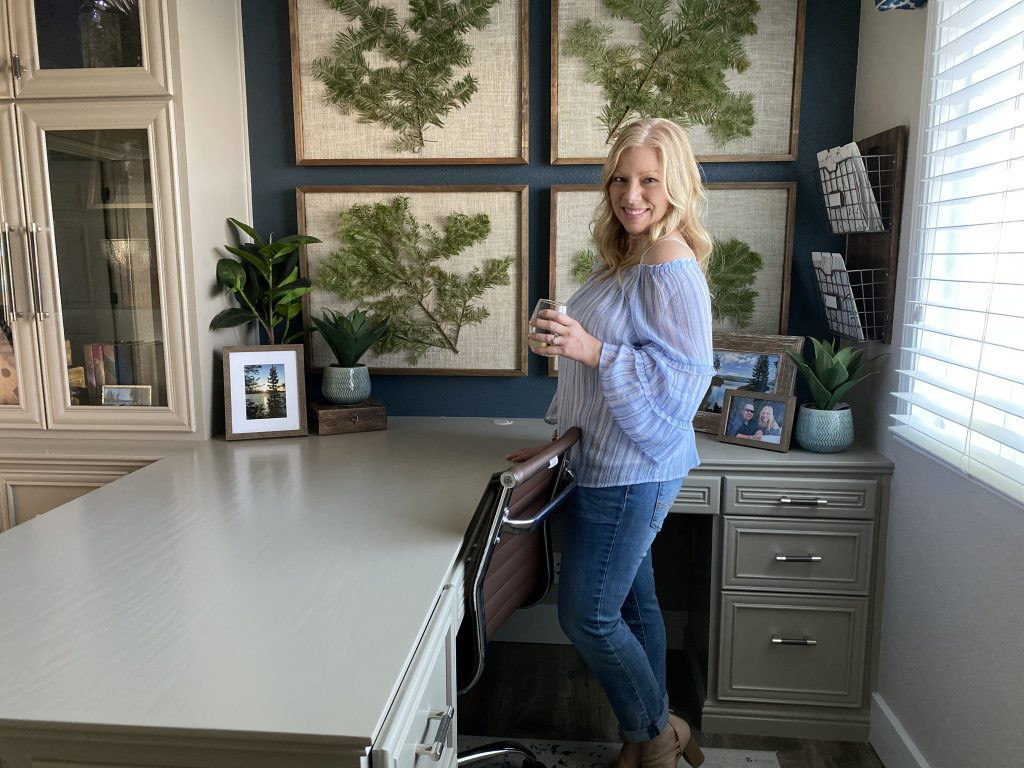 Designer Crystal Hackl in the newly completed space