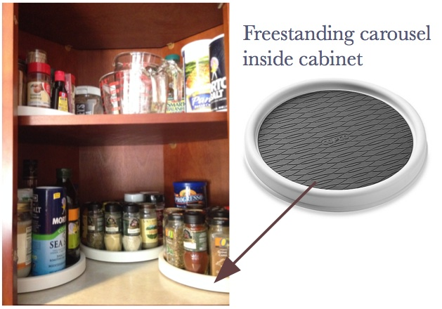 The organized kitchen: Carousels make use of corner wall cabinet space   inspiredhaven.com
