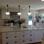 Traditional farmhouse kitchen white shaker 94552 Castro Valley schoolhouse lights oak floor Kashmir granite