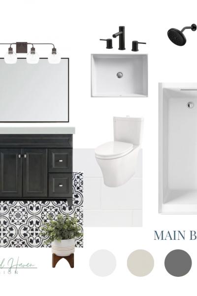Concept Board for a Black and White Modern Farmhouse Bath